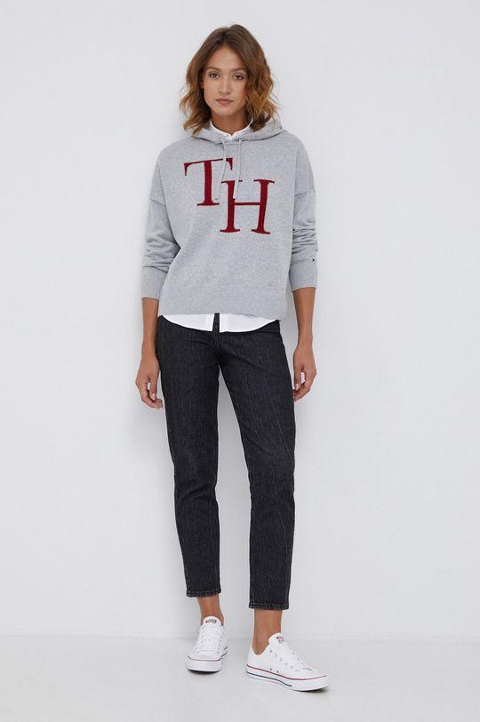 Tommy Hilfiger - Sweter bawełniany jasny szary