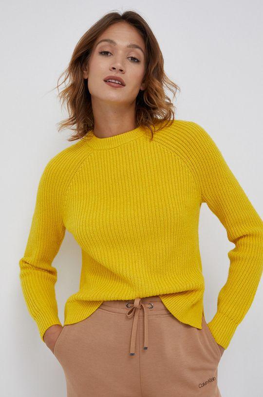 żółty Calvin Klein - Sweter wełniany Damski