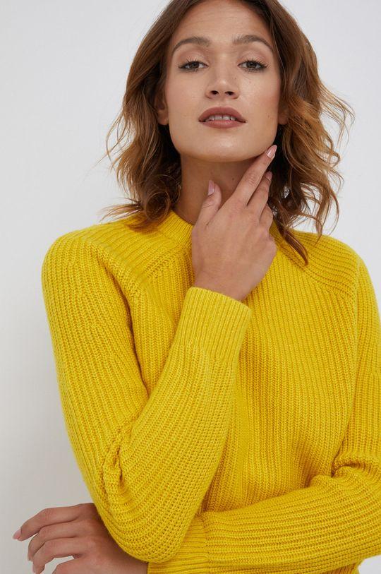 żółty Calvin Klein - Sweter wełniany