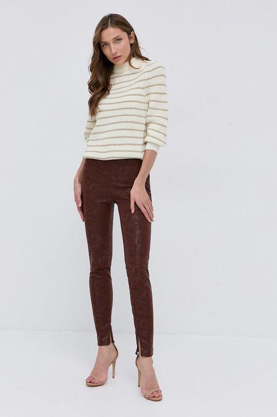 Guess - Sweter z domieszką wełny kremowy
