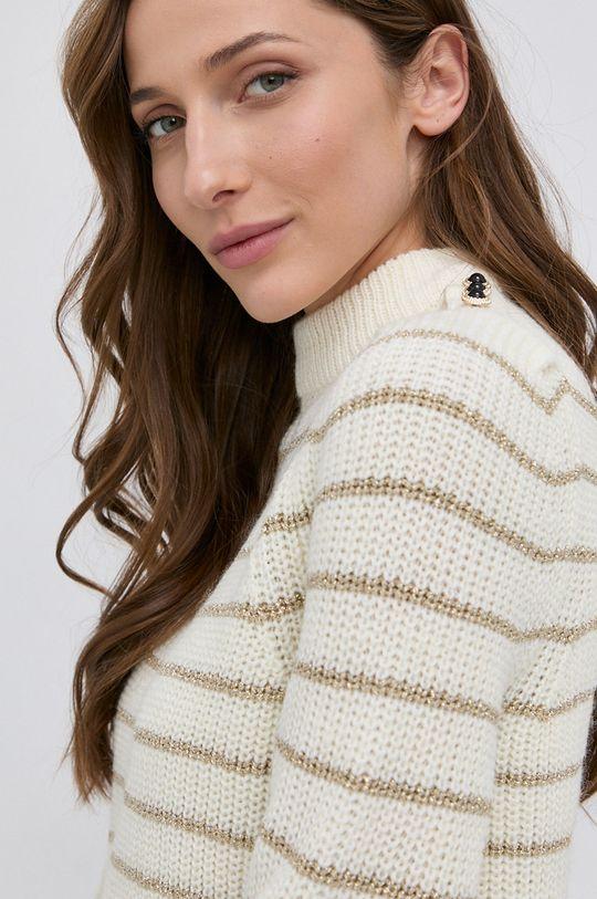 kremowy Guess - Sweter z domieszką wełny