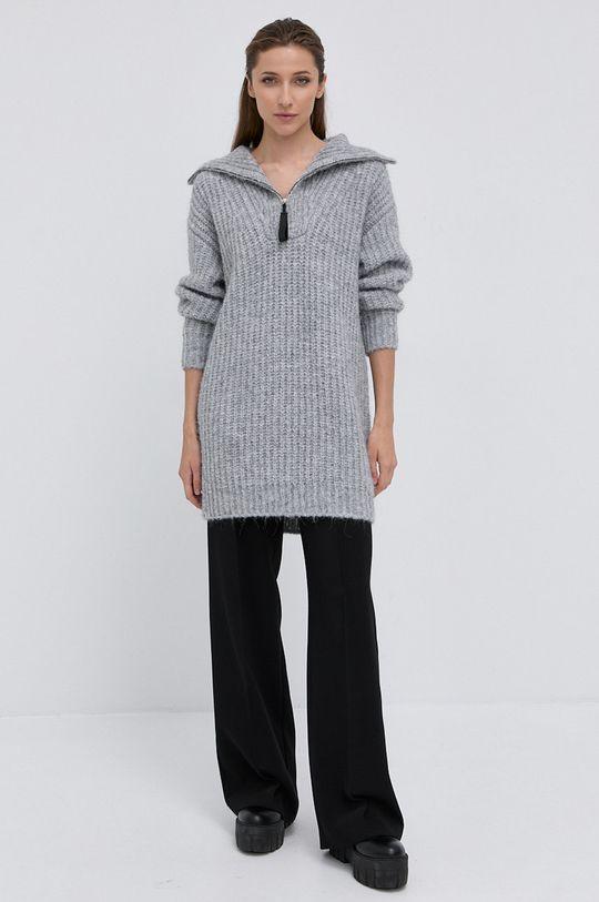 Hugo - Sweter z domieszką wełny szary