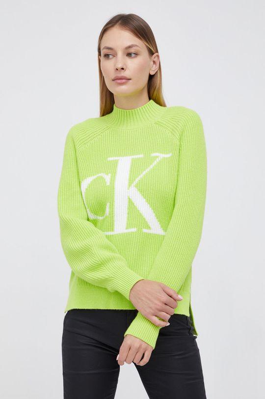żółto - zielony Calvin Klein Jeans - Sweter z domieszką wełny Damski