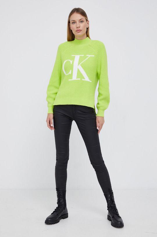 Calvin Klein Jeans - Sweter z domieszką wełny żółto - zielony