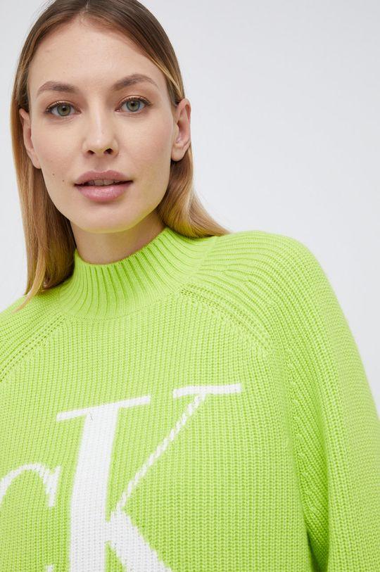 żółto - zielony Calvin Klein Jeans - Sweter z domieszką wełny