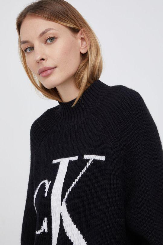 czarny Calvin Klein Jeans - Sweter z domieszką wełny