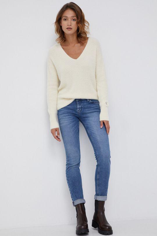 Calvin Klein Jeans - Sweter z domieszką wełny kremowy