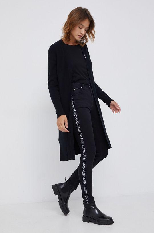 Calvin Klein Jeans - Kardigan z domieszką wełny czarny