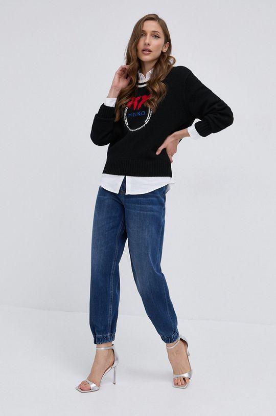 Pinko - Sweter wełniany czarny