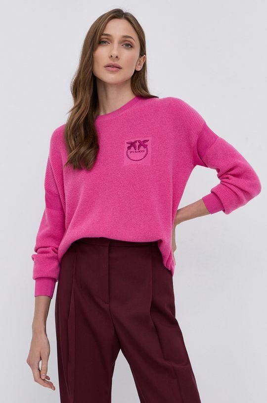 ostry różowy Pinko - Sweter wełniany Damski