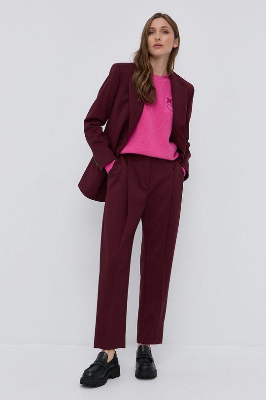 Pinko - Sweter wełniany ostry różowy