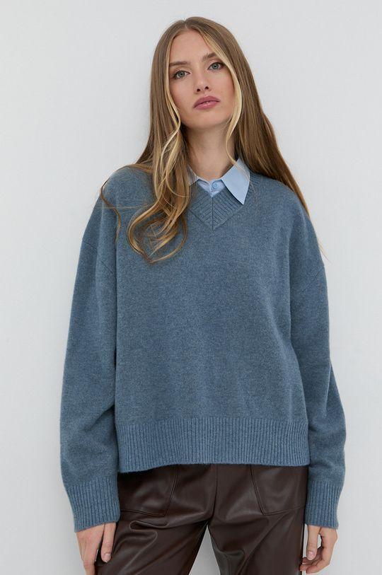 Samsoe Samsoe - Sweter wełniany fioletowy
