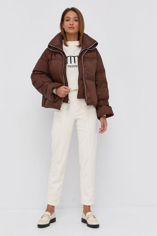 Twinset - Sweter z domieszką wełny kremowy