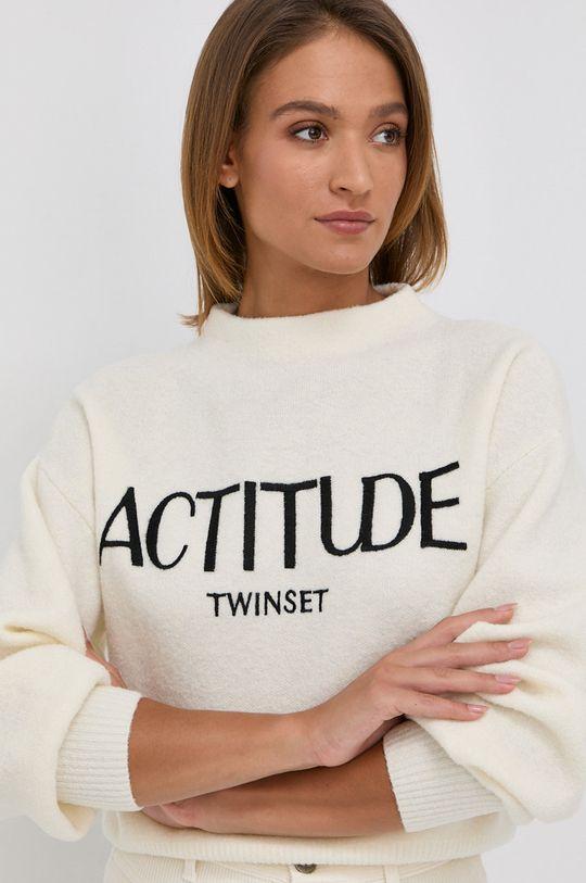 kremowy Twinset - Sweter z domieszką wełny