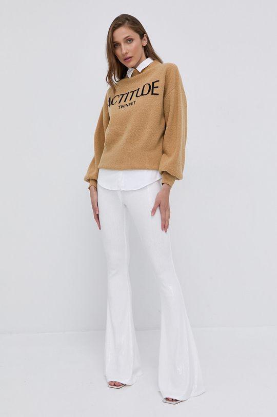Twinset - Sweter z domieszką wełny beżowy