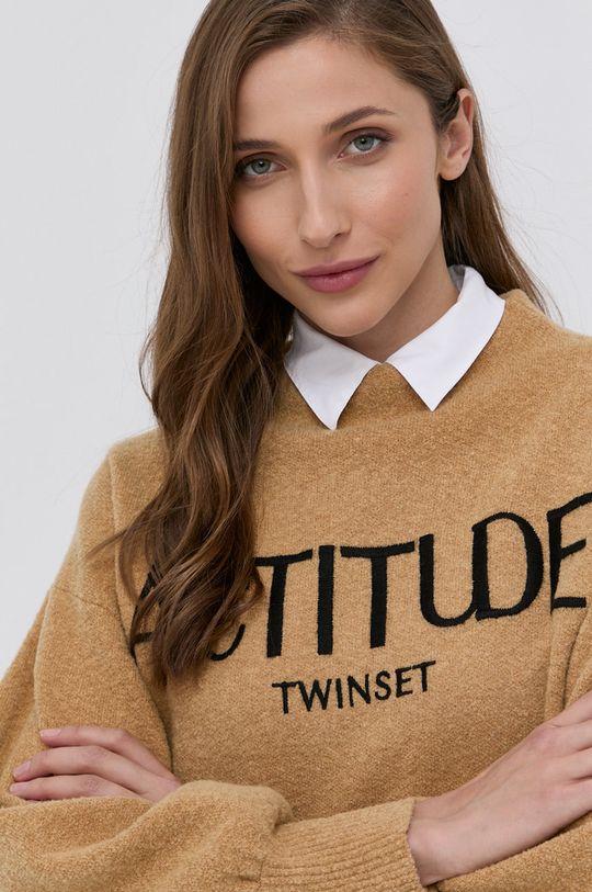 beżowy Twinset - Sweter z domieszką wełny