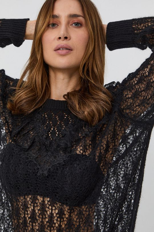 czarny Twinset - Sweter z domieszką wełny