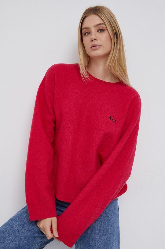 fuchsiová Armani Exchange - Vlněný svetr