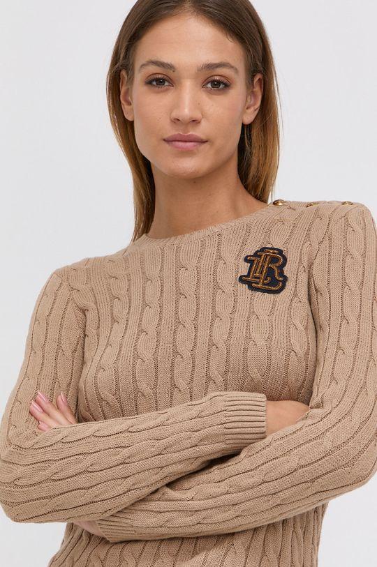 beżowy Lauren Ralph Lauren - Sweter bawełniany Damski