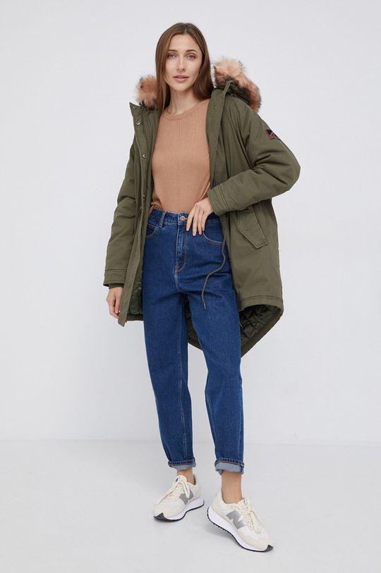 Pepe Jeans - Sweter z domieszką wełny Carol brązowy