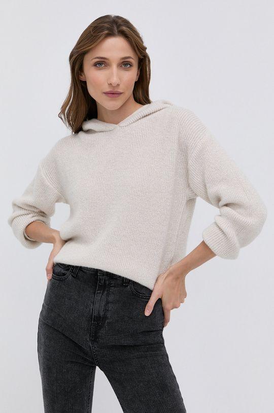 kremowy Morgan - Sweter z domieszką wełny MNINO Damski