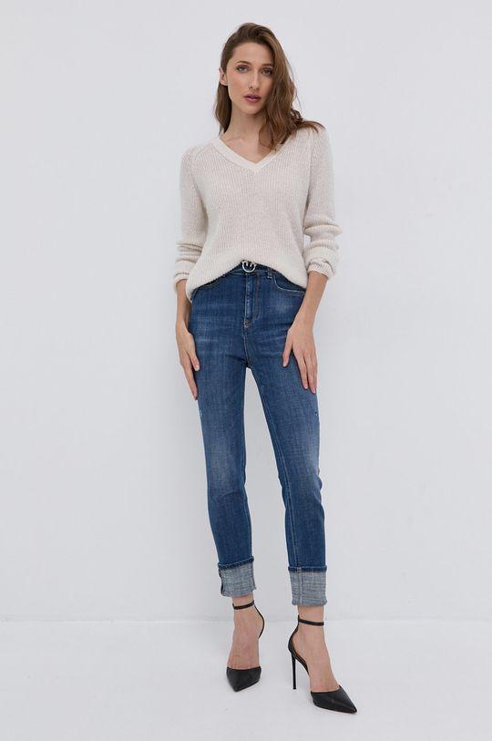 Morgan - Sweter z domieszką wełny kremowy