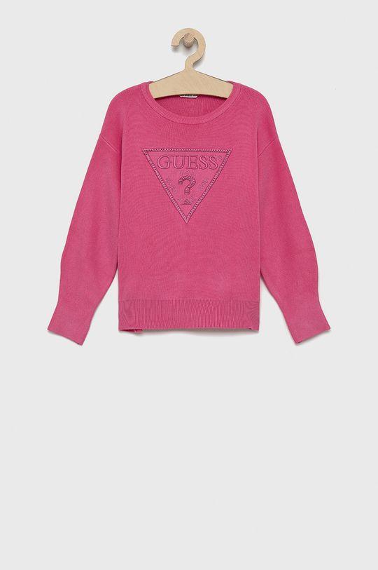 różowy Guess - Sweter dziecięcy Dziewczęcy