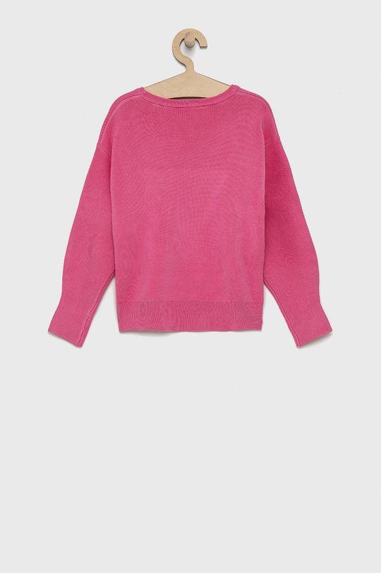 Guess - Sweter dziecięcy różowy