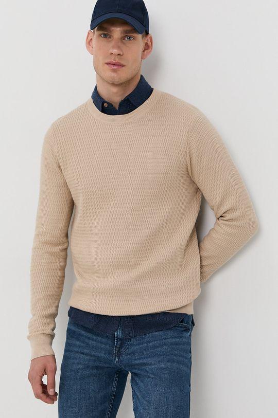 kremowy Produkt by Jack & Jones - Sweter Męski