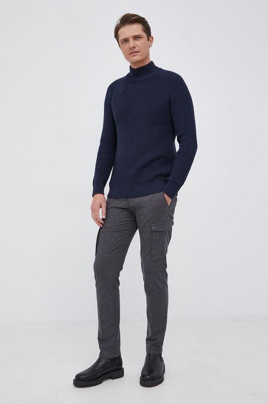 Selected - Sweter bawełniany granatowy