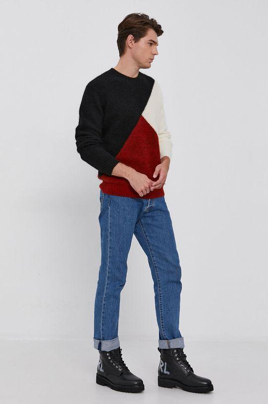 Karl Lagerfeld - Sweter wełniany czerwony