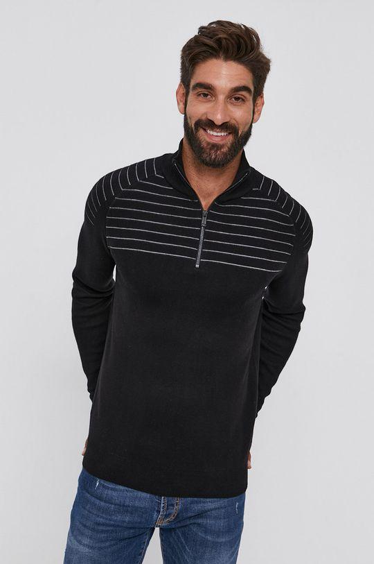czarny Guess - Sweter Męski