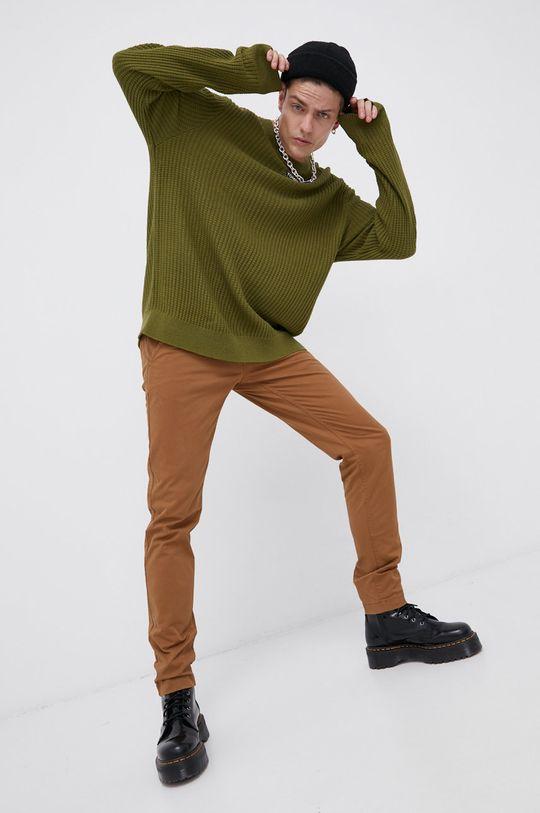 Tommy Jeans - Sweter jasny oliwkowy