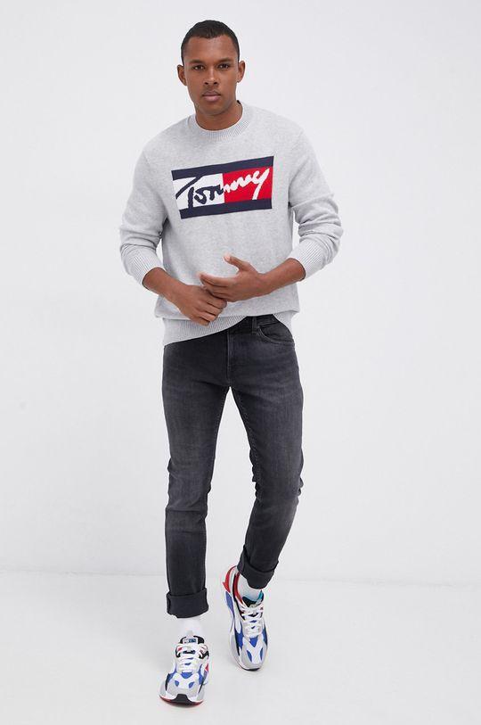 jasny szary Tommy Jeans - Sweter Męski