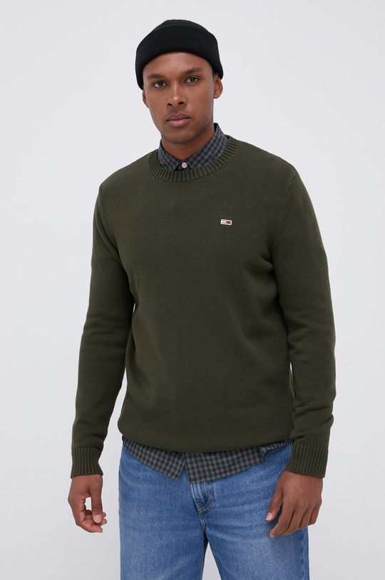 Tommy Jeans - Sweter oliwkowy