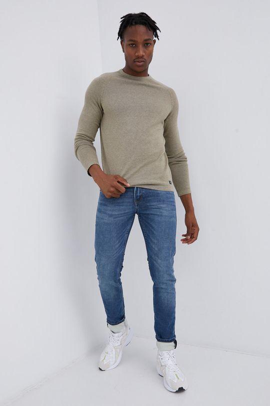 Tom Tailor - Sweter jasny oliwkowy