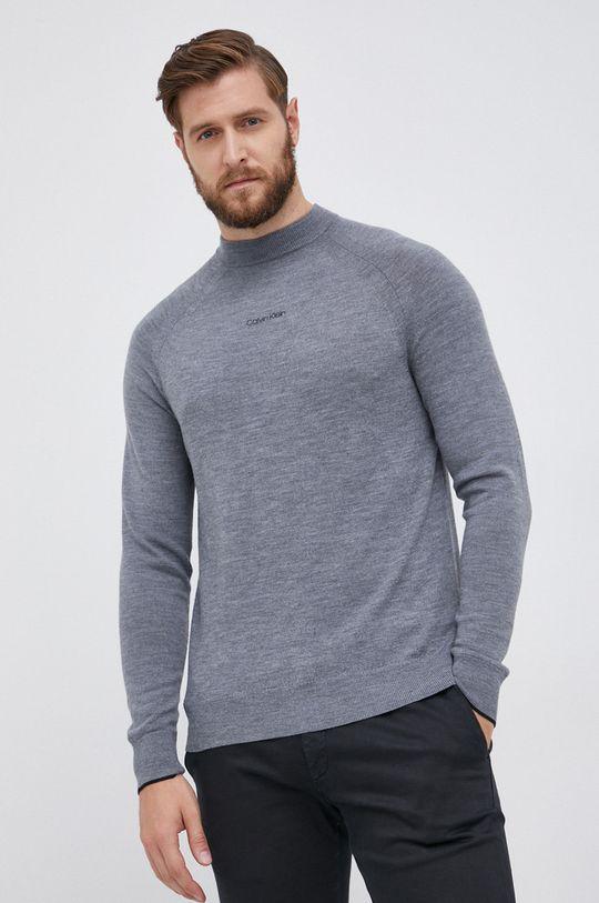 szary Calvin Klein - Sweter wełniany Męski