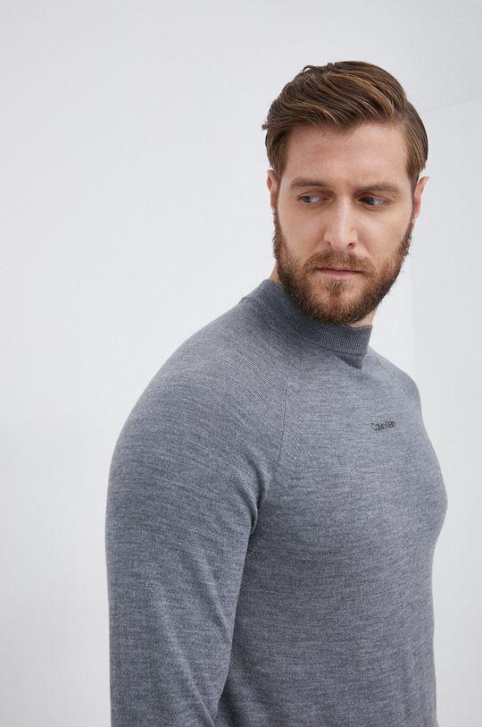 szary Calvin Klein - Sweter wełniany