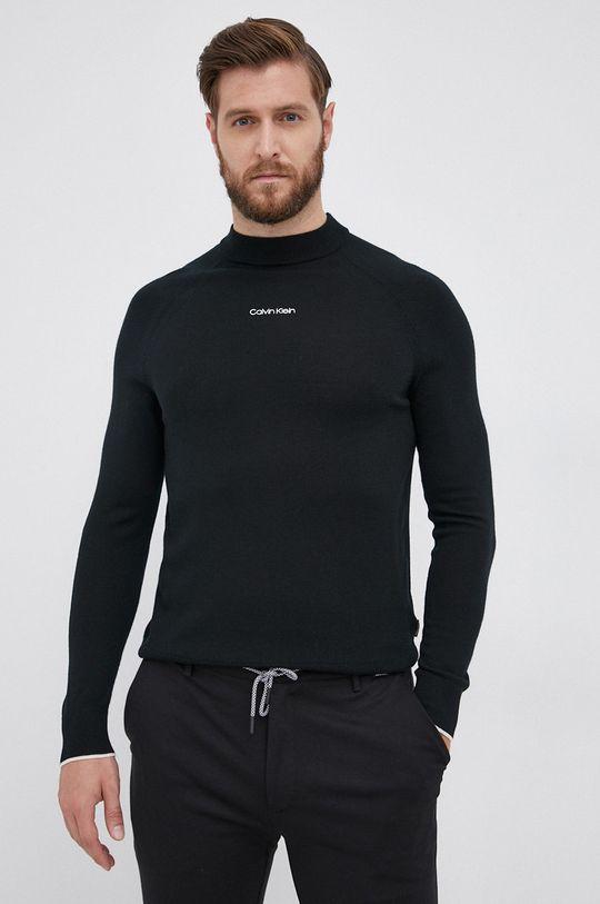 czarny Calvin Klein - Sweter wełniany Męski