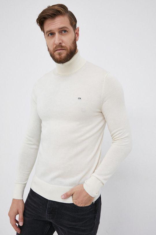 kremowy Calvin Klein - Sweter wełniany Męski