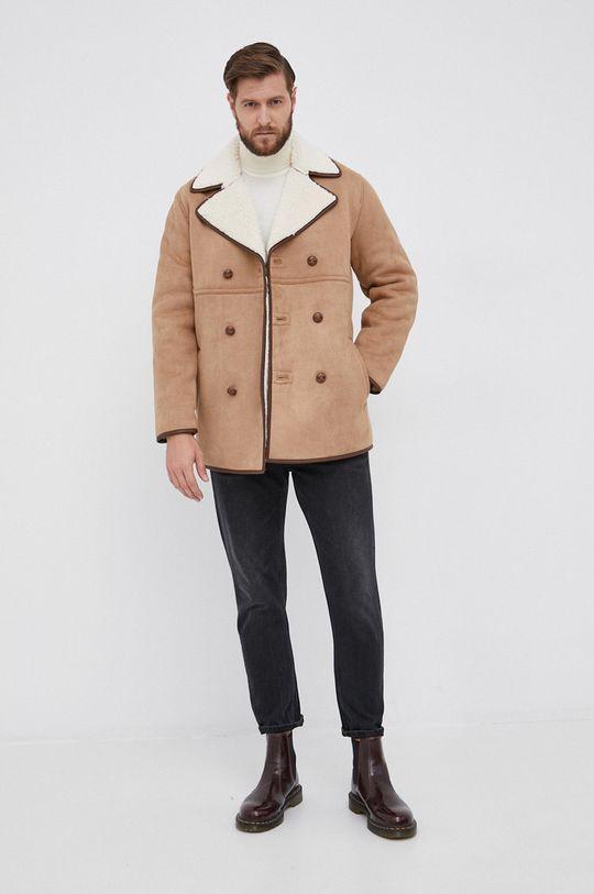 Calvin Klein - Sweter wełniany kremowy