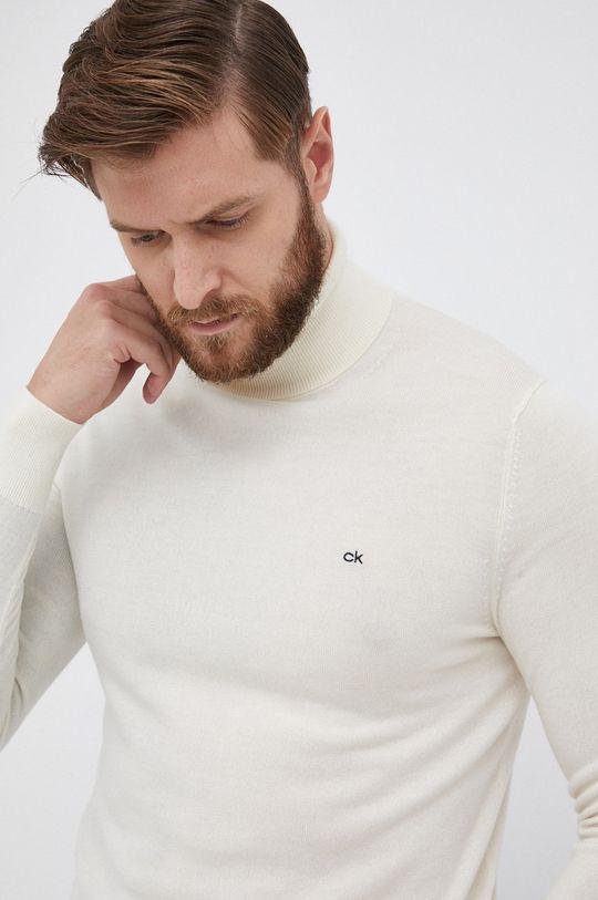kremowy Calvin Klein - Sweter wełniany