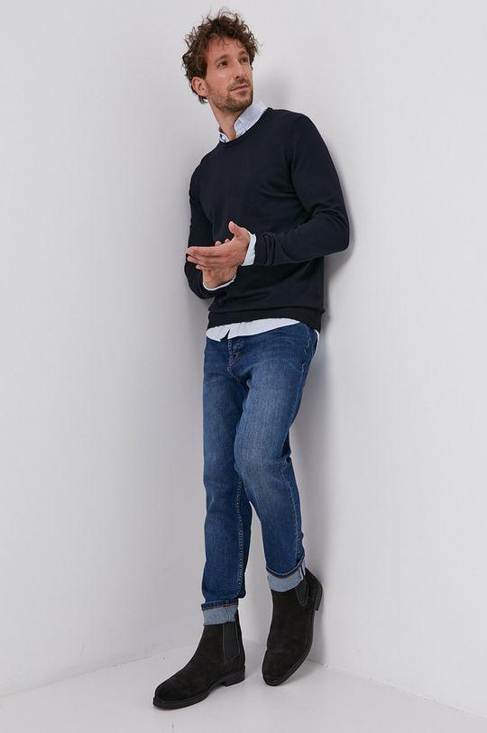 tmavomodrá Hugo - Vlnený sveter Pánsky