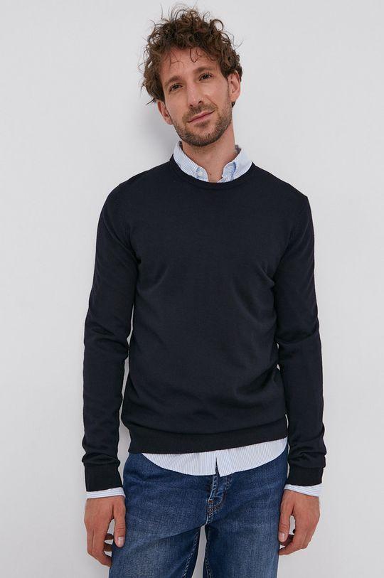 Hugo - Vlnený sveter tmavomodrá