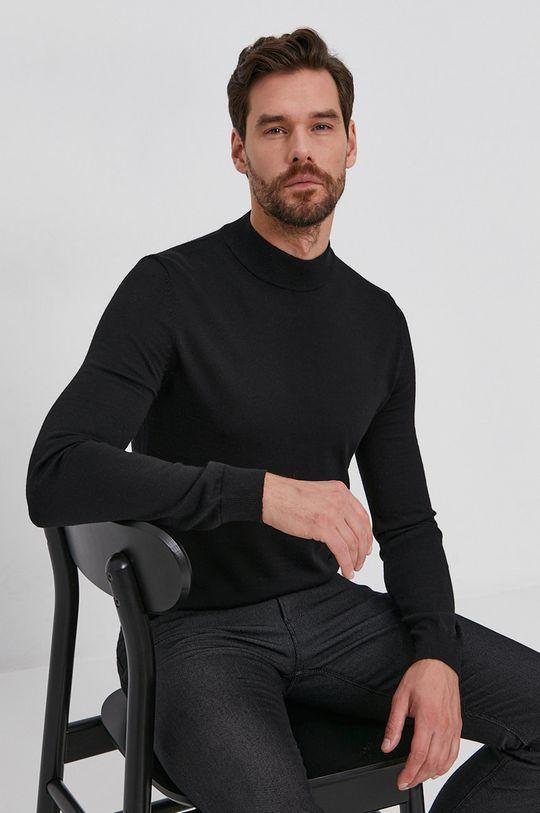 negru Hugo - Pulover de lana De bărbați