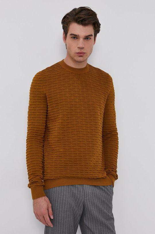 Hugo - Sweter złoty brąz