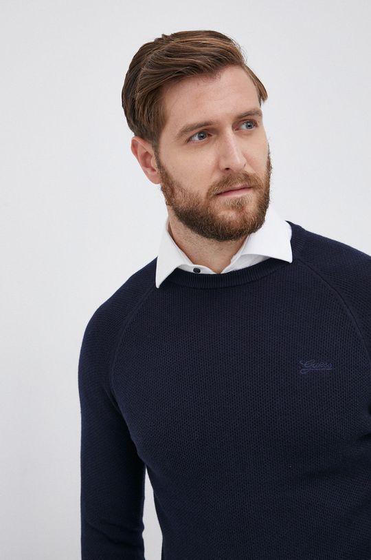 granatowy Guess - Sweter z domieszką wełny