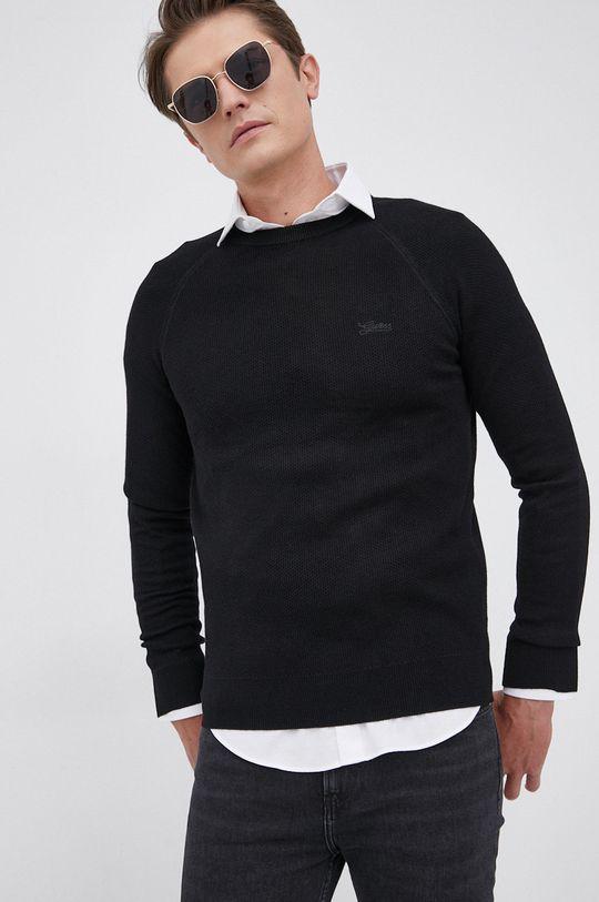 czarny Guess - Sweter z domieszką wełny Męski