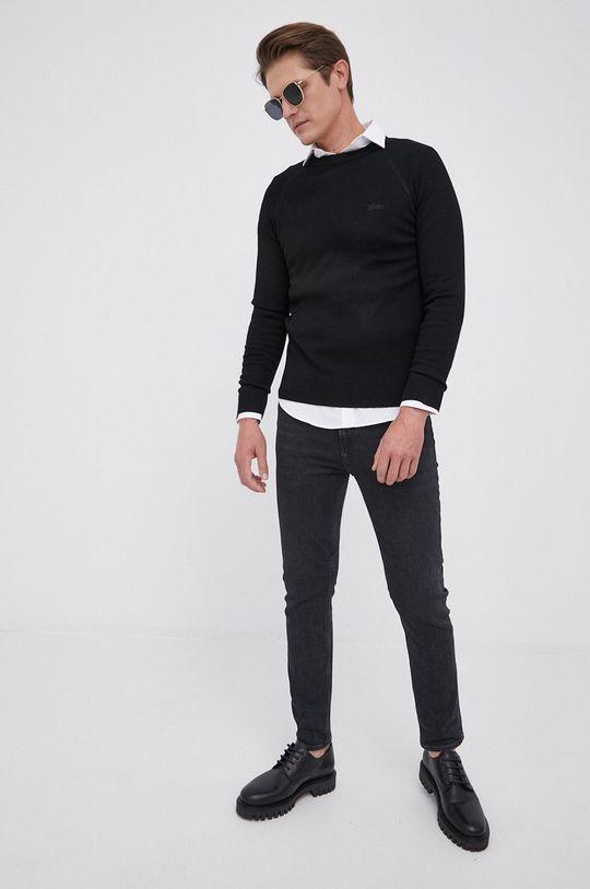 Guess - Sweter z domieszką wełny czarny