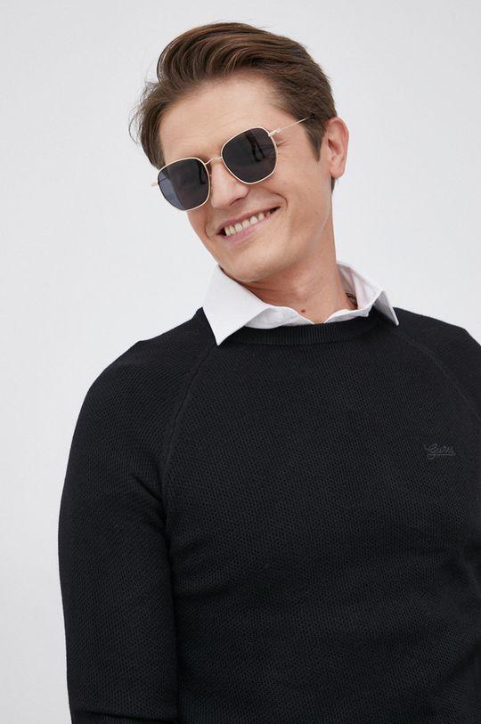czarny Guess - Sweter z domieszką wełny
